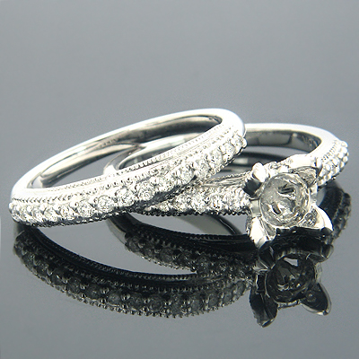 18K Gold Diamond Bridal Ring Sets Collection Item .58ct Main Image