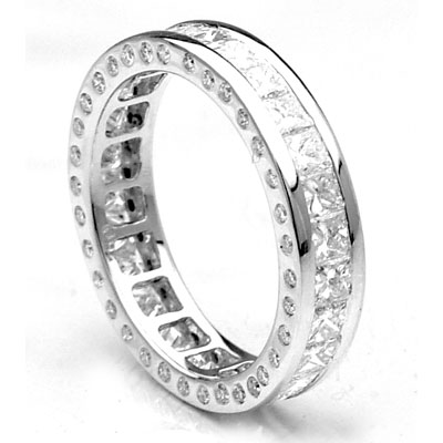 Thin 18K Gold Diamond Channel Set Eternity Band 3.10 carats Main Image
