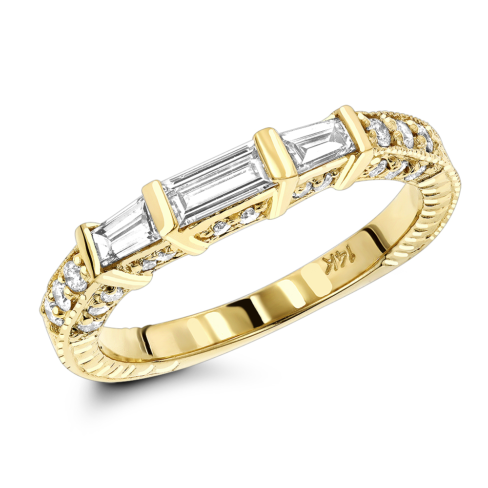 Thin 18K Gold Diamond Engagement Band 0.89ct Yellow Image