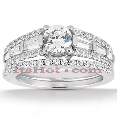 18K Gold Diamond Engagement Ring Mounting Set 1.06ct