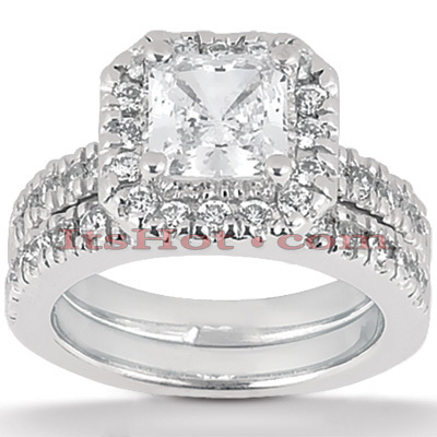 18K Gold Diamond Engagement Ring Set 1.48ct Main Image