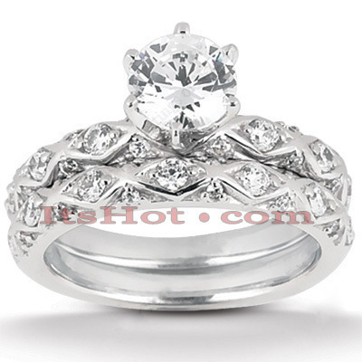 18K Gold Diamond Engagement Ring Set 1ct Main Image