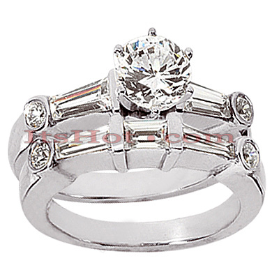 18K Gold Diamond Engagement Ring Set 2.08ct