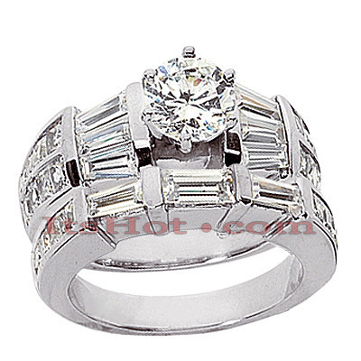 18K Gold Diamond Engagement Ring Set 3.54ct