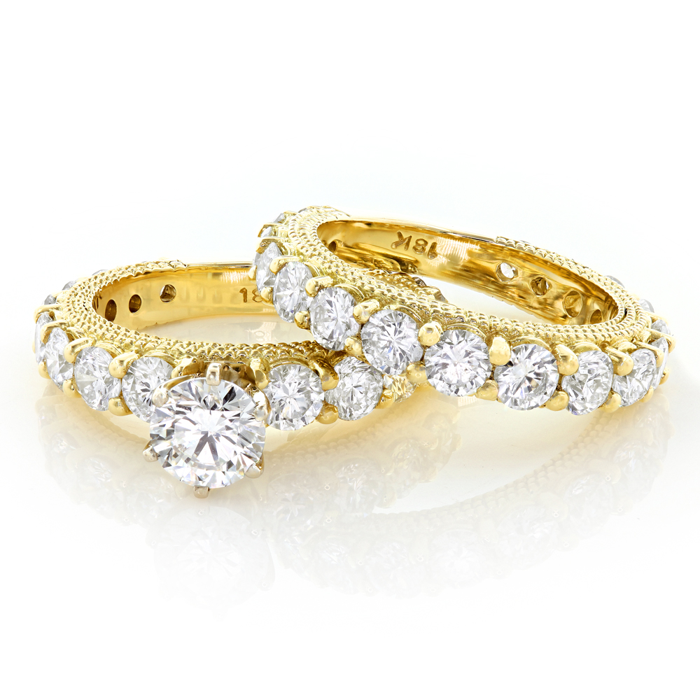 18K Gold Diamond Engagement Ring Set 4.42ct Yellow Image
