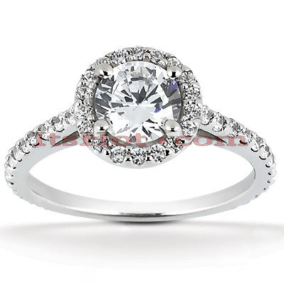 Halo 18K Gold Diamond Engagement Ring Setting 0.52ct Main Image