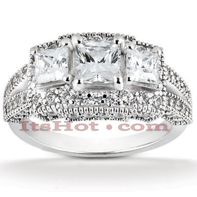 18K Gold Diamond Engagement Ring Setting 1.22ct