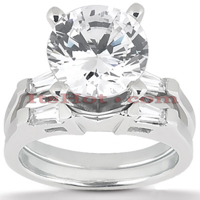 18K Gold Diamond Engagement Ring Setting Set 0.28ct