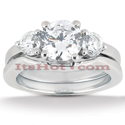 18K Gold Diamond Engagement Ring Setting Set 0.40ct Main Image