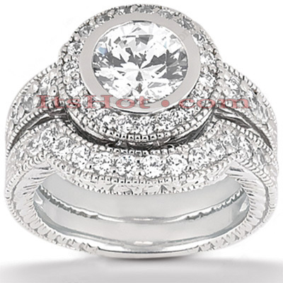 18K Gold Diamond Engagement Ring Setting Set 0.49ct Main Image