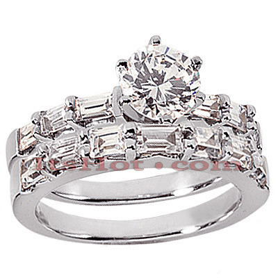 18K Gold Diamond Engagement Ring Setting Set 1.47ct Main Image