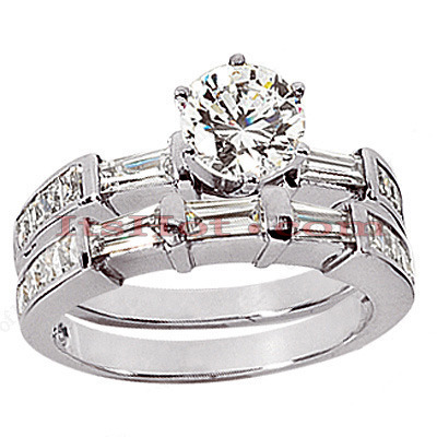 18K Gold Diamond Engagement Ring Setting Set 1.50ct