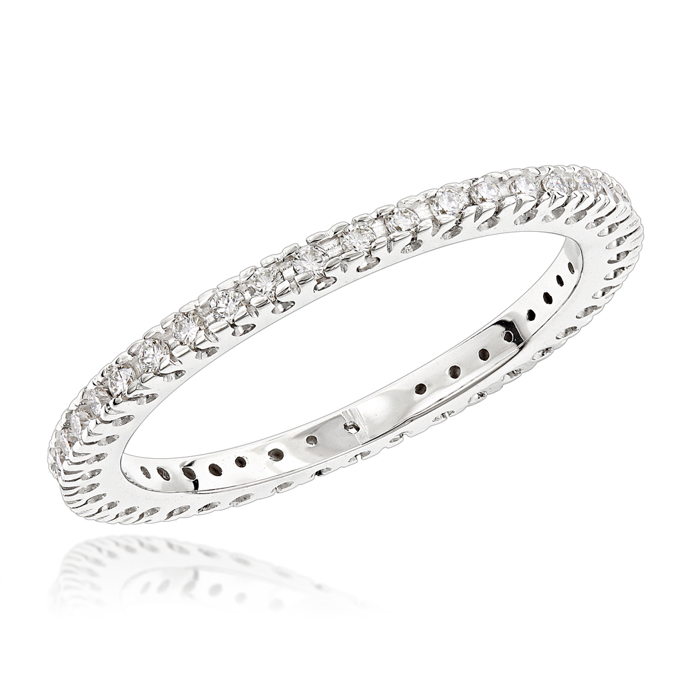18K Gold Diamond Eternity Band 0.37ct White Image