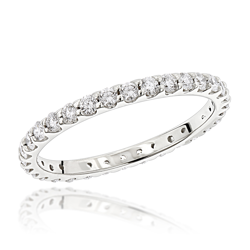 Thin 18K Gold G VS Diamond Eternity Band for Women 0.84ct White Image