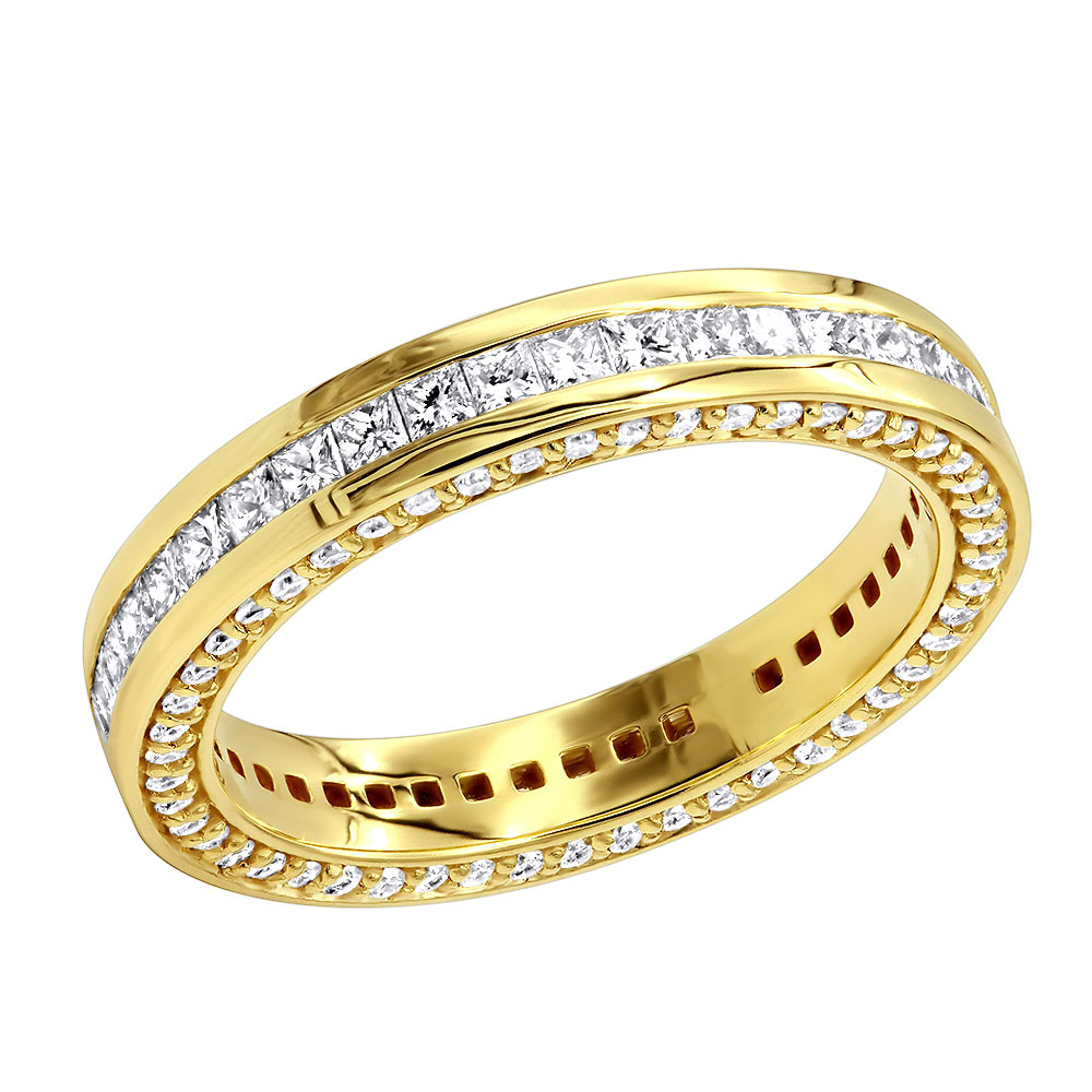 18K Gold Roun and Princess Cut Diamond Eternity Band 1.93ct Yellow Image
