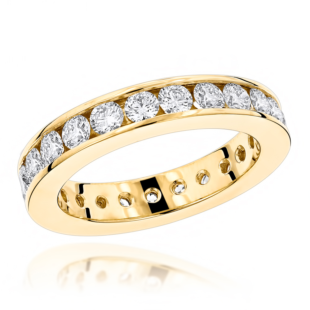 18K Gold Round Diamond Eternity Band 2.20ct Yellow Image