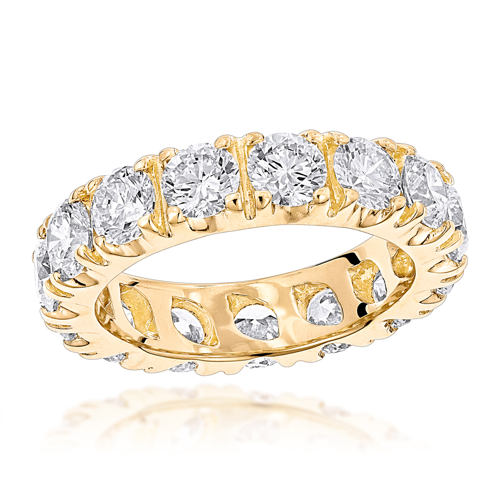 18K Gold Round Diamond Eternity Band 4ct Yellow Image