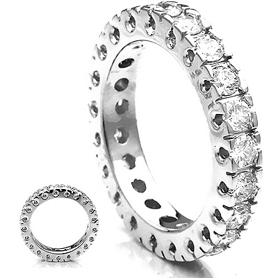 Thin 18K Gold Diamond Eternity Band Round Diamonds 1.83ct