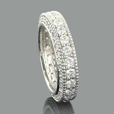 18K Gold Diamond Eternity Band Round Diamonds 3.46ct