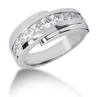18K Gold Diamond Men's Wedding Band 1.42ct