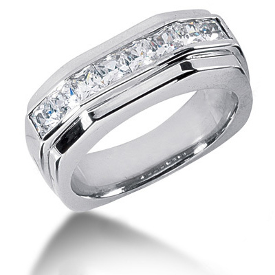 18K Gold Diamond Men's Wedding Ring 1.36ct