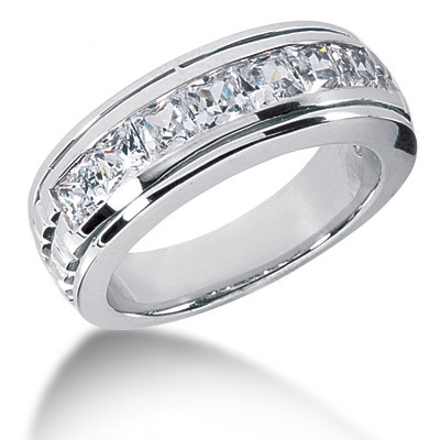 18K Gold Diamond Men's Wedding Ring 2.10ct