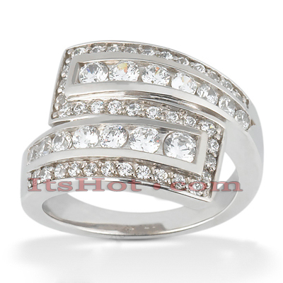 18K Gold Diamond Right Hand Womens Ring 1.20ct