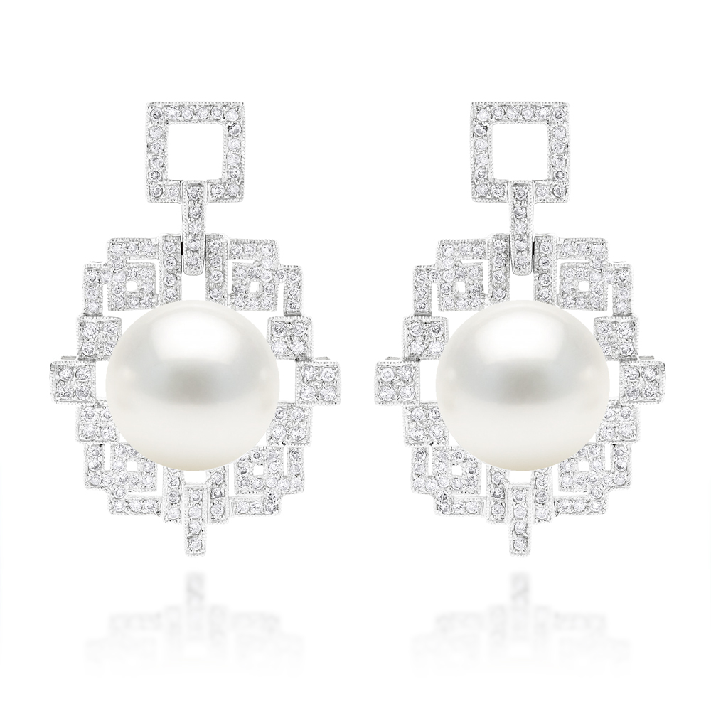 18K Gold Diamond & South Sea Pearl Earrings 2.01ct White Image