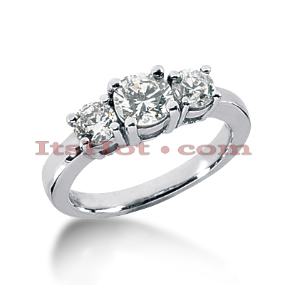 Thin 18K Gold Diamond Three Stones Engagement Ring 0.40ct Main Image