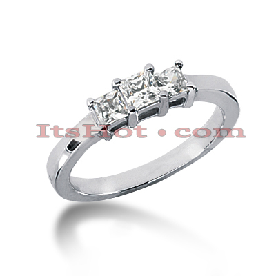 Thin 18K Gold Diamond Three Stones Engagement Ring 0.45ct 2.2mm Main Image