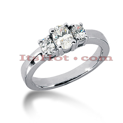 Thin 18K Gold Diamond Three Stones Engagement Ring 0.50ct Main Image