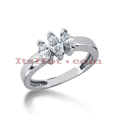 Thin 18K Gold Diamond Three Stones Engagement Ring 0.55ct Main Image