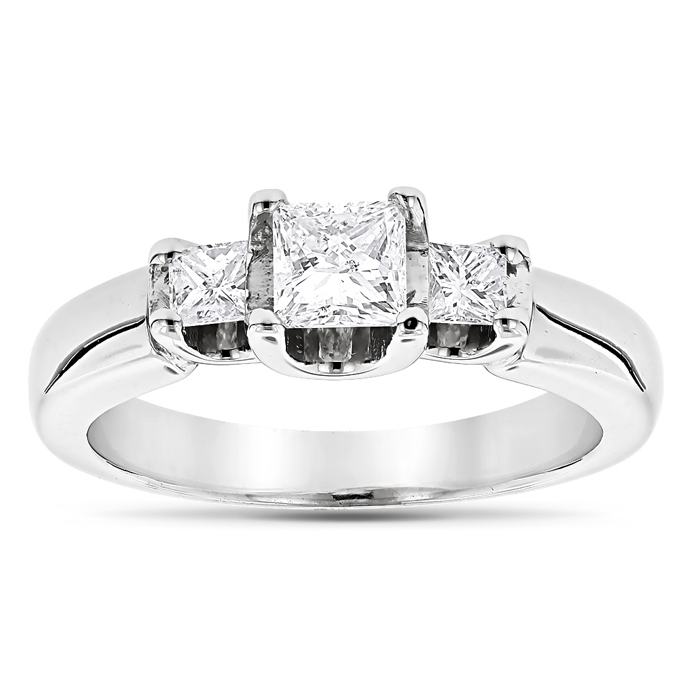 Thin 18K Gold Diamond Three Stones Engagement Ring 0.58ct White Image