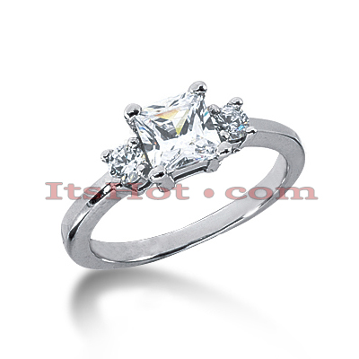 Ultra Thin 18K Gold Diamond Three Stones Engagement Ring 0.60ct Main Image