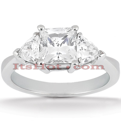 Ultra Thin 18K Gold Diamond Three Stones Engagement Ring 0.70ct Main Image
