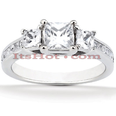 Ultra Thin 18K Gold Diamond Three Stones Engagement Ring 0.72ct Main Image