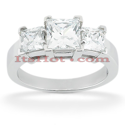 Thin 18K Gold Diamond Three Stones Engagement Ring 0.80ct Main Image