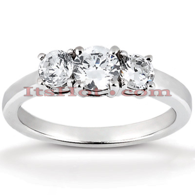 Ultra Thin 18K Gold Diamond Three Stones Engagement Ring 0.80ct Main Image