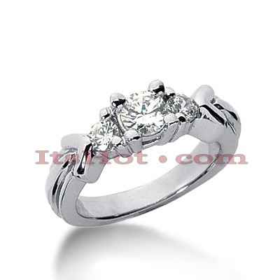18K Gold Diamond Three Stones Engagement Ring 0.80ct Main Image