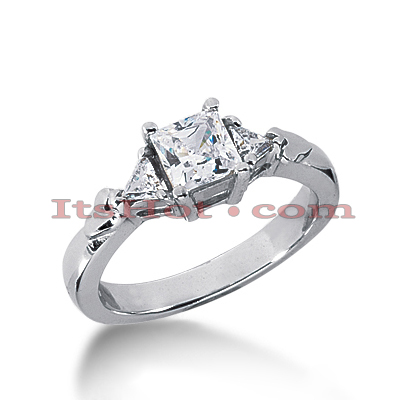 Thin 18K Gold Diamond Three Stones Engagement Ring 0.83ct Main Image