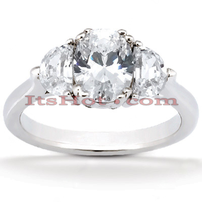 Ultra Thin 18K Gold Diamond Three Stones Engagement Ring 0.90ct Main Image