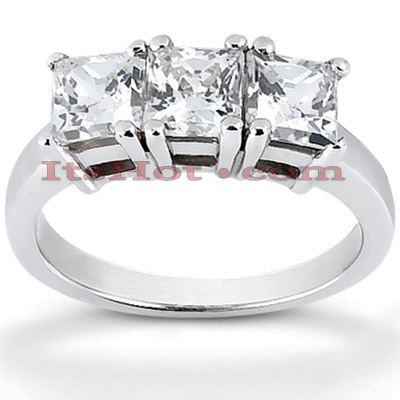 Thin 18K Gold Diamond Three Stones Engagement Ring 0.90ct Main Image