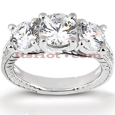 Thin 18K Gold Diamond Three Stones Engagement Ring 0.95ct Main Image
