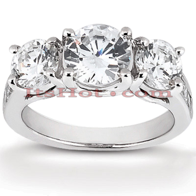 Thin 18K Gold Diamond Three Stones Engagement Ring 0.98ct Main Image