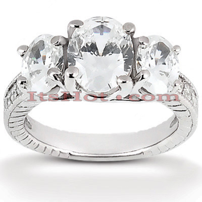 Thin 18K Gold Diamond Three Stones Engagement Ring 1.03ct Main Image