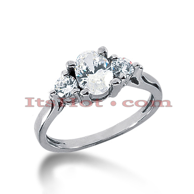 Thin 18K Gold Diamond Three Stones Engagement Ring 1.05ct Main Image