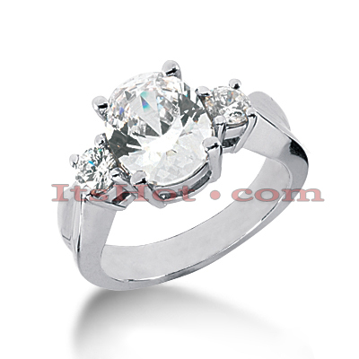 Thin 18K Gold Diamond Three Stones Engagement Ring 1.05ct 3.7mm Main Image