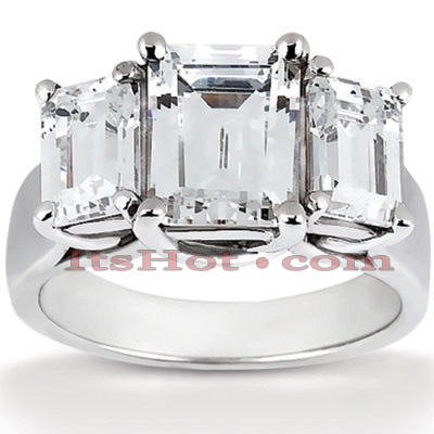 18K Gold Diamond Three Stones Engagement Ring 1.16ct Main Image
