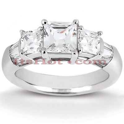 Thin 18K Gold Diamond Three Stones Engagement Ring 1.16ct Main Image