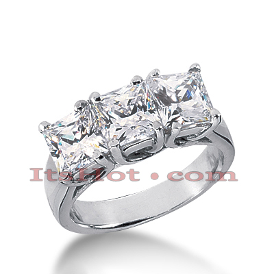 Thin 18K Gold Diamond Three Stones Engagement Ring 1.20ct Main Image